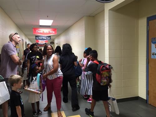 Crowded hallway at Columbia Elementary