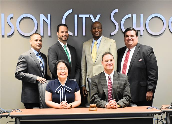 Group Photo of the 5 Board of Education Members and Superintendent Robby Parker
