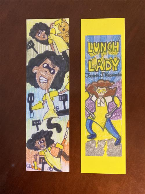 Two bookmarks, both showing caricatures of a lunch lady at school
