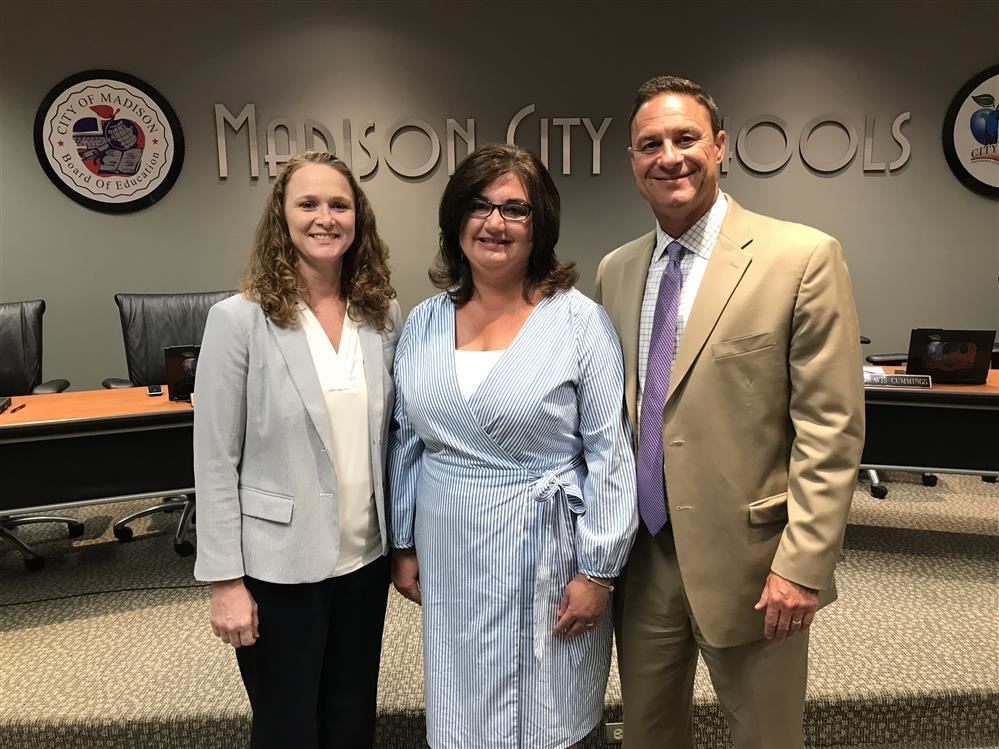 Sharon Nichole Phillips with Supt. Robby Parker & Elem Instruction Coordinator Melissa Mims