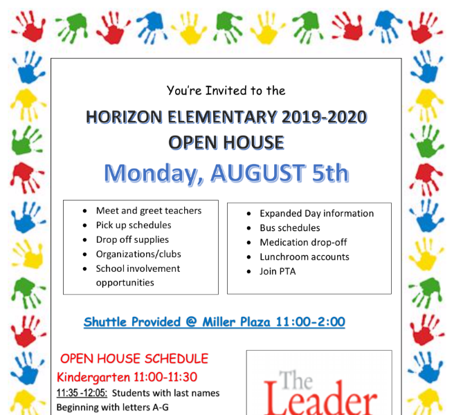 OPEN HOUSE - Monday, August 5th
