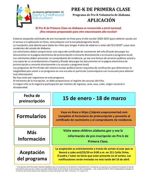 Preregistration flyer spanish