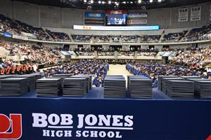 Wide angle photo of Bob Jones graduates seated