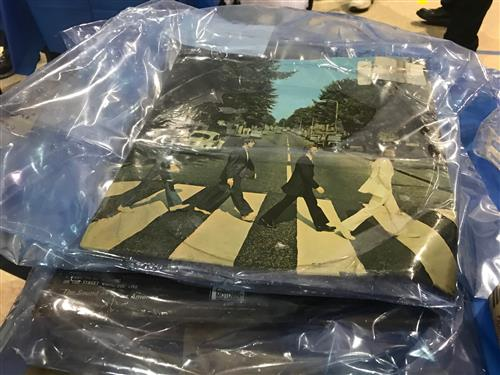 Image of Beatles Abby Road album cover wrapped in plastic