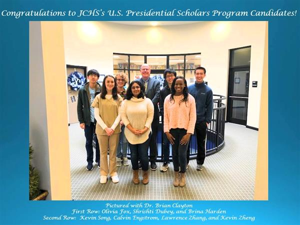 7 student Presidential Scholar candidates from James Clemens High School and their principale principal