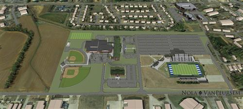 aerial view of the site rendering for the new Madison Middle School