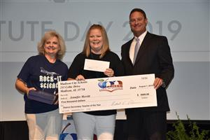 Secondary TOTY Jennifer Merritt with $5,000 check
