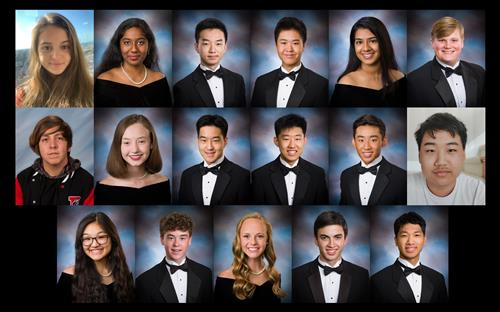 grid pictures of all 17 national merit semifinalists for Madison City Schools in 2020