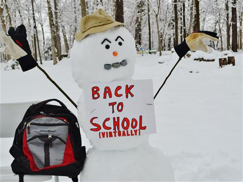 Snowman holding sign saying Back To School Virtually