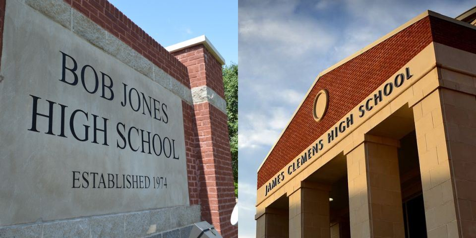 Front view of the Bob Jones and James Clemens high school entrances