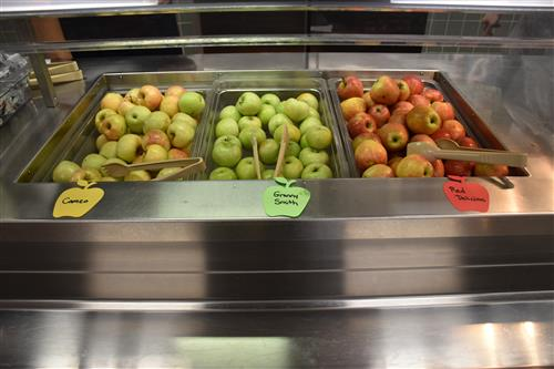 Apples on display in lunchline