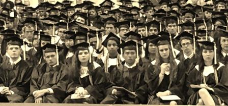 Black and white stock photo of graduates in caps and gown