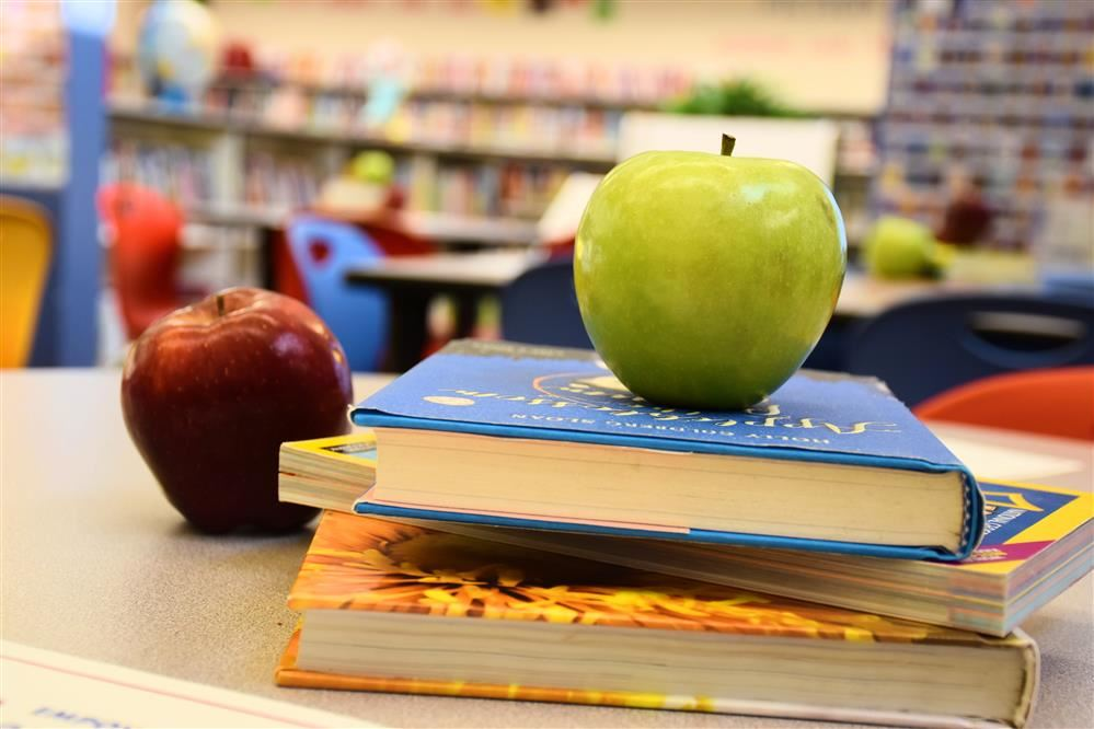 Image of two apples on stack of library books