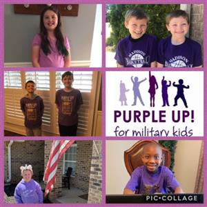 Montage of 6 pics of students in pairs promoting purple up for military kids campaign