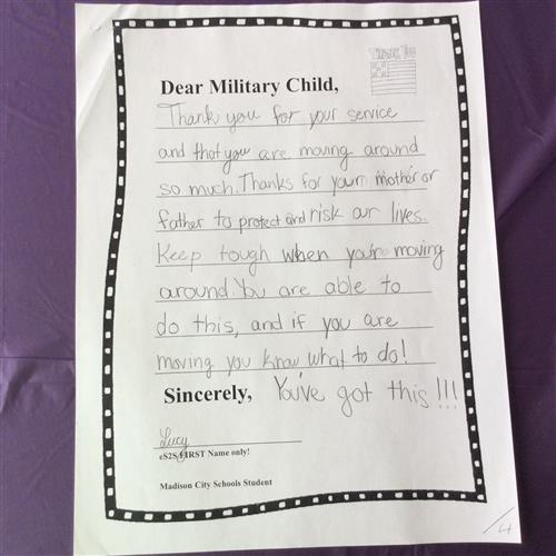 Closeup of a letter thanking military for their service and willing to move around frequently to protect us