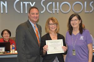Wendy Tibbs and Beth Bero with Supt. Parker