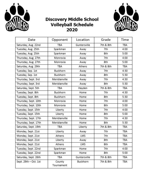DMS Volleyball Schedule 2020