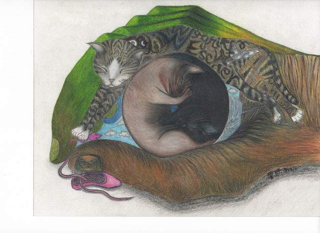 My surrealist colored pencil artwork of my cats paying homage to surrealists: Magritte, Dali, Escher, and Arcimboldo.